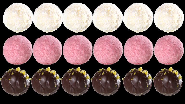 Pralinen weiß, rosa, braun